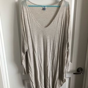 Old navy long sleeve tunic 4xl cream/gold